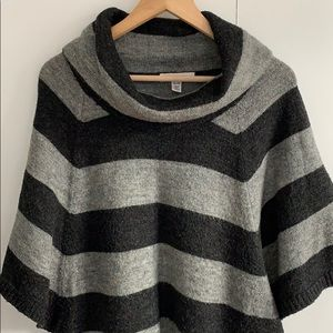 Sweaters - Cowl Short-Sleeve Striped Sweater